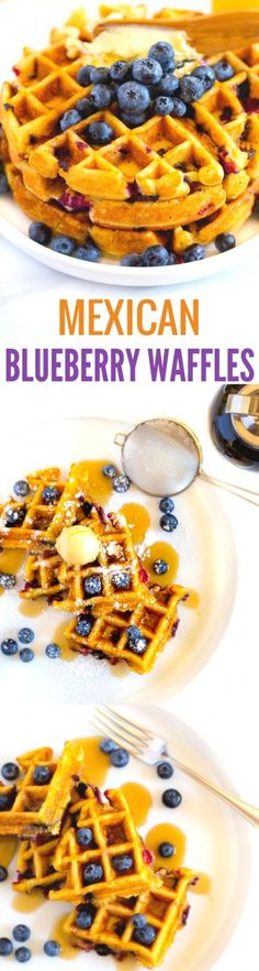 Delicious Mexican Blueberry Waffles are a delightful spin on traditional Make breakfast fun and tasty with this quick, easy, scrumptious recipe. These homemade waffles are super light and fluffy! Potluck Recipes, Breakfast Recipes, Dessert Recipes, Drink Recipes, Easter Recipes, Fall Recipes, Summer Recipes, Breakfast Ideas, Appetizer Recipes
