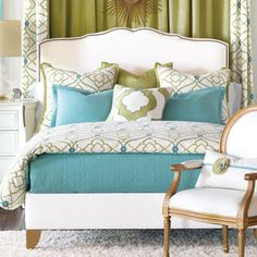 green and blue decorating.  I like this combo. Maybe for living room. Use the Aqua as accents with the celery/olive green.