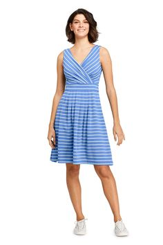 3e7a16bb63 Women s Banded Waist Fit and Flare Dress Knee Length from Lands  End  Dresses For Sale