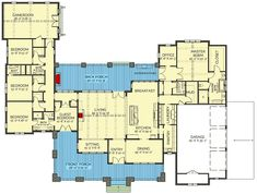 Plan Stunning New American House Plan with Game Room - Architecture New House Plans, Dream House Plans, House Floor Plans, Dream Houses, U Shaped House Plans, Modern Floor Plans, The Plan, How To Plan, House Ideas
