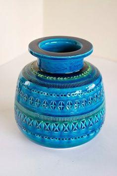 Vintage Bitossi Italian Studio Pottery Aldo Londi Rimini Blue Vase | eBay