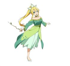 vestido blonde_hair 1girl green_dress green_eyes hair_ornament highres Leafa…