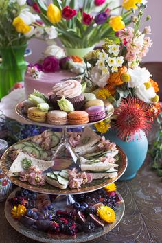 Layer and mix sweets, savories, and flowers High Tea, Pain Relief, Cannabis, Tea Party, Sweets, Wellness, Table Decorations, Garden, Flowers