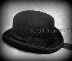 42f9f2b5edef8 Hats and Headgear 155349  Old West Sass Black Bowler Derby Hat 100% Wool  Felt