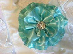Robin's Egg Blue Satin Hair Flower/Bow by OliviasPretties on Etsy, $6.00