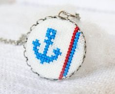 Hand embroidered necklace Anchor.