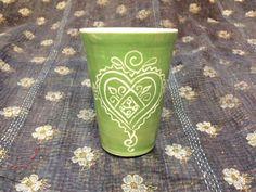 Porcelain Green Heart Tumbler
