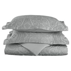 Refresh your master suite or guest room with this 600 thread count cotton duvet cover set, showcasing a sateen finish and paisley motif.