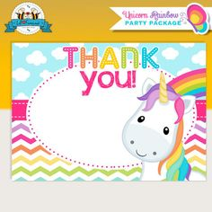 Unicorn Rainbow Party Thank You Card - Unicorn Rainbow Party Personalized printables will save you time and money while making your planning a snap!