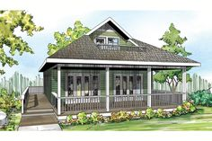 House Plan 035-00633 - A charming Cottage Plan with approximately  1,120 square feet of living space houses two bedrooms, two baths and an open floor plan. A large overhead bonus room features an attached deck and the home has additional outdoor space for relaxing. This house plan is a wonderful vacation home or could function as a small family home.