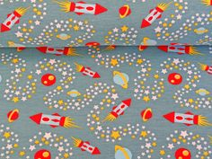 05 x 14 m JERSEY KNIT FABRIC Milky Way rocket teal 95/5 by NaehNu, €8.90