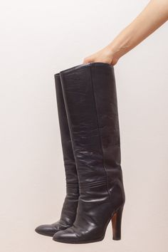 Your place to buy and sell all things handmade High Heel Boots, Heeled Boots, High Heels, Studio 54, Vintage Boots, Party Looks, Calves, Black Leather, Legs