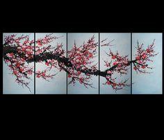 Art Canvas Prints Wall Decor Abstract Art Contemporary Art Cherry Blossom Painting Framed