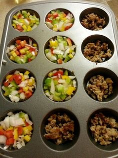 Fast Metabolism Diet, Phase 2 Breakfast Muffins! Saves time and works great with Salsa. Ingredients; italian chicken sausage,  bell peppers, onions, egg white.