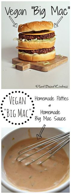"Vegan ""Big Mac"" Recipe by Plant Based Kindness. Make sure your bread is ""vegan"". Most commercial brands have l-cysteine or animal-sourced dough conditioners/enzymes, milk, eggs, honey, etc. Vegan Foods, Vegan Dishes, Vegan Meals, Yummy Vegan Food, Vegan Fast Food, Paleo Diet, Vegan Big Mac Recipe, Big Mac Sauce Recipe, Whole Food Recipes"