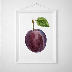 Plum poster Kitchen print Fruit print Food decor ACW476