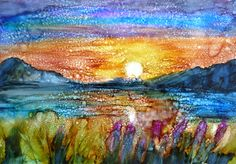 Coucher de soleil alcool encre peinture impression par twopoots