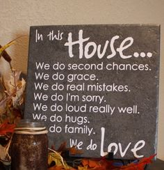 In this House we do...ceramic tile with vinyl quote. $17.00, via Etsy.