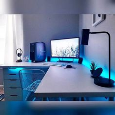 Led on computer room You can find Led and more on our website.Led on computer room Computer Gaming Room, Computer Desk Setup, Gaming Room Setup, Gaming Rooms, Pc Setup, White Desk Gaming Setup, Cool Gaming Setups, Computer Programming, Home Office Setup