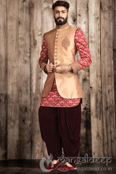 Golden And Maroon Silk Indo Western Mens Wear Suit. For more information :- Call us @+919377222211 (Whatsapp Available)