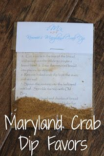 Happily Island After: Kimmie's Maryland Crab Dip; Maryland Wedding Favors