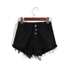 SheIn(sheinside) Single-breasted Ripped Fray Hem Denim Shorts ($14) ❤ liked on Polyvore featuring shorts, bottoms, black, distressed shorts, ripped shorts, high-waisted jean shorts, high rise denim shorts and distressed high waisted shorts