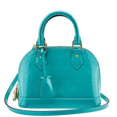 Pre-owned Louis Vuitton Alma BB Blue Vernis Monogram Leather Tote ($1,449) ❤ liked on Polyvore featuring bags, handbags, tote bags, blue tote bag, louis vuitton tote, blue tote, louis vuitton purses and leather tote