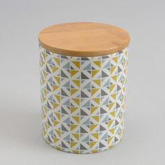 Pot hermétique porcelaine motif scandinave vert/gris - Coffret de 3 SCANDI
