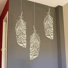 Forest feathers wall stencils for painting - Expedited 3 days delivery - Reusable wall stencil for DIY projects - Tribal pattern - Bohemian wall decor