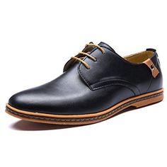 Oferta: 21.23€. Comprar Ofertas de Blivener Casual - Zapatos de cordones de Otra Piel para hombre, color negro, talla 44 barato. ¡Mira las ofertas!