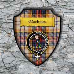 MacInnes Shield Plaque with Scottish Clan Coat of Arms Badge on Clan Plaid Tartan Background Wall Art by YourCustomStuff on Etsy https://www.etsy.com/listing/564285423/macinnes-shield-plaque-with-scottish