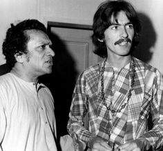 August 1967 - George with Ravi Shankar at Ravi's Kinnara School of Music, based in Los Angeles