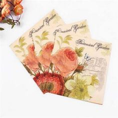 Fd3024 Wedding Birthday Party Butterfly Rose Paper Napkins 33X33Cm 1 Pack 20 Pc\