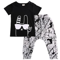 Baby boy clothes2016 Brand summer kids clothes sets t-shirt+pants suit clothing set Graffiti Printed Clothes newborn sport suits