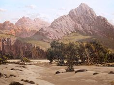 Tinus De Jongh (SA 1885 - Oil, Mountain Landscape with Dry River Bed