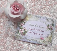 10 Save the Date Cards Shabby Chic Vintage (Angela) (Ref 9) £4.00