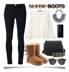 """""""Style Staple: Suede Boots"""" by alaria ❤ liked on Polyvore featuring Isabel Marant, UGG Australia, Rebecca Minkoff, Frame Denim, Le Specs, NARS Cosmetics, contestentry and suedeboots"""