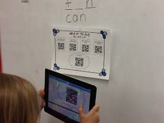 Word of the Day Activity using QR Codes with a freebie- quick way to practice Common Core skills for Kdg/1st!