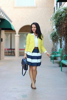 yellow blazer - striped skirt