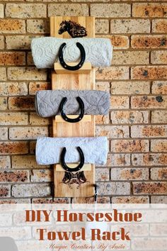 This towel rack was made using scrap wood and old horseshoes.  This tutorial will show you how to remove the rust from the horseshoes and how to build the towel rack.  The graphics on this towel rack have been added using a scorch pen.  The final effects turn out similar to pyrography. (Woodburning) Diy Furniture Projects, Diy Wood Projects, Welding Projects, Outdoor Projects, Pallet Furniture, Country Decor, Farmhouse Decor, Farmhouse Design, Cricut Vinyl Cutter