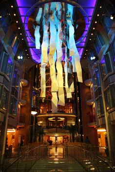 Look up in the Centrum of Liberty of the Seas. Artwork by Miguel Chevalier uses light projectors to change the colors reflected by the piece.