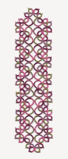 Tatting: Priscilla bookmark (free pattern - diagram)
