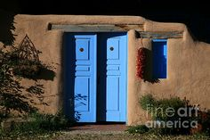 Blue doors in Taos, New Mexico