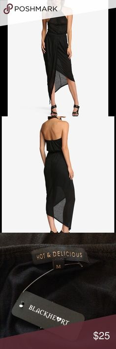 Blackheart halter dress Black dress with asymmetrical hem, button up front, elastic waist and halter strap. Never worn. NWT Hot & Delicious Dresses Asymmetrical