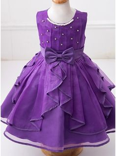 Ball Gown Knee-length Flower Girl Dress - Tulle/Polyester Sleeveless Scoop Neck With Sash/Beading/Bow(s)/Rhinestone (010088180)