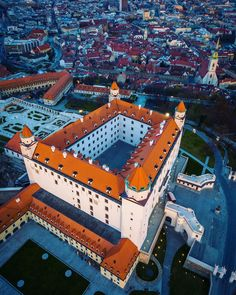 Birdview of Bratislava castle Slovakia Bratislava Slovakia, Central And Eastern Europe, Colourful Buildings, Fairytale Castle, Europe Destinations, Most Beautiful Cities, Travel Information, Hungary, Budapest