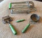 Vintage Lot Green Handle Villa Potato Chopper Cutter Tea Strainer Lighter