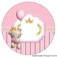 "Convites Digitais Simples: Kit Aniversário ""Ursinha Princesa Rosa"""