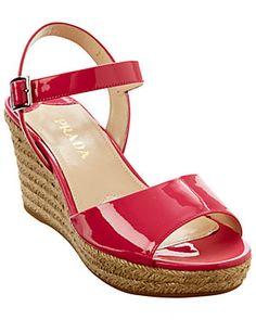Prada Patent Espadrille Wedge Sandal