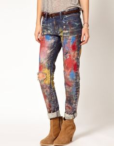 Image 1 of Denim & Supply By Ralph Lauren Boyfriend Paint Jeans